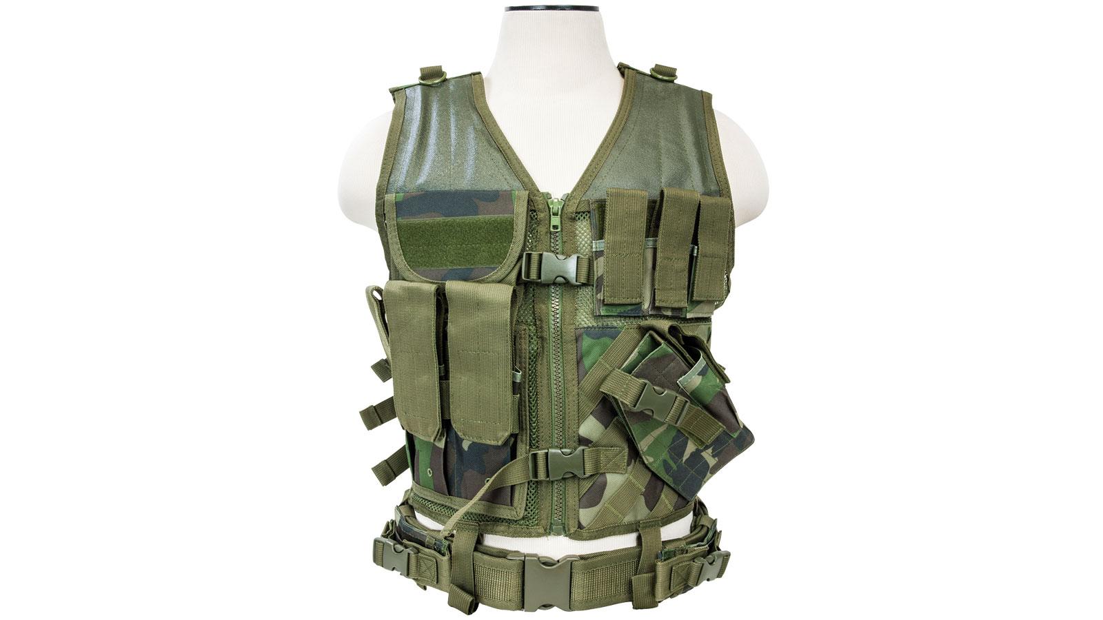 NC Star Tactical Vest Woodland Camo, XL-XXL