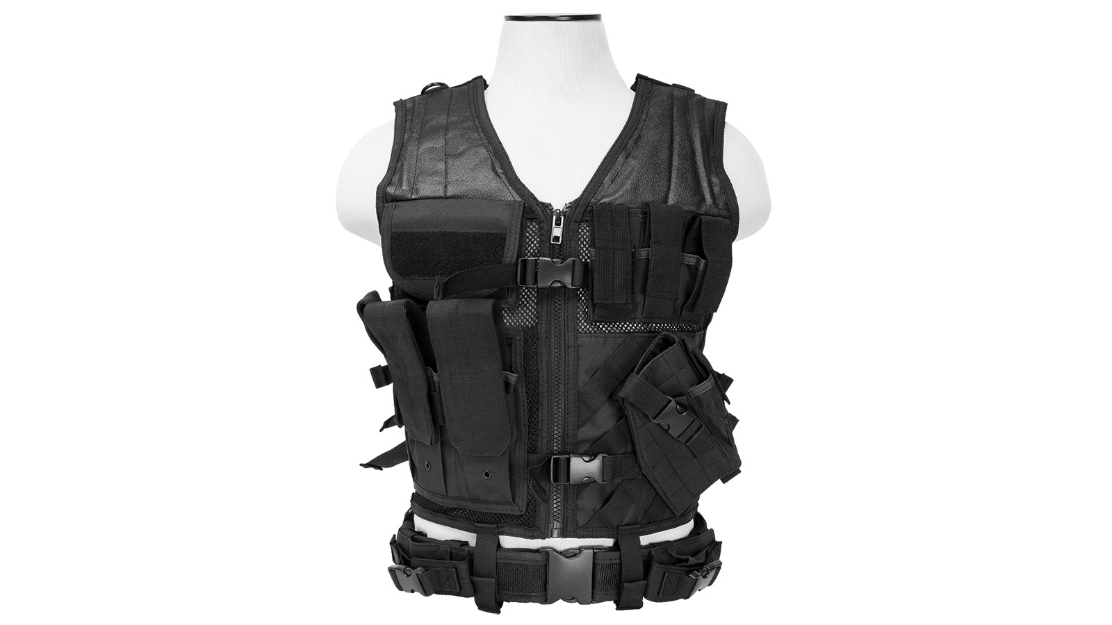 NCStar CTVL2916B Tactical Vest Black XL-XXL Tough PVC/Mesh Webbing
