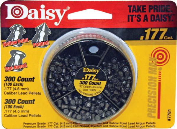 Daisy 7781 Dial-A-Pellet .177 100 Each Style Flat Nose|Point|Hollow Point 300ct