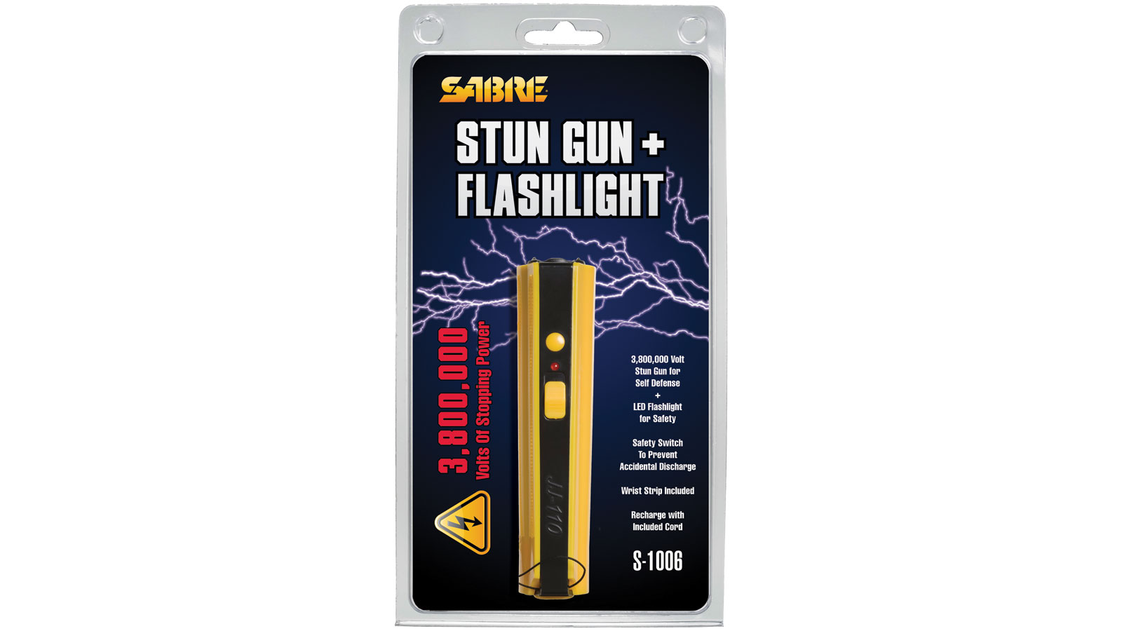 Sabre S1006YQ Concealable Stun Gun with LED Flashlight 800,000 Volts|100-Lumens Plastic Yellow