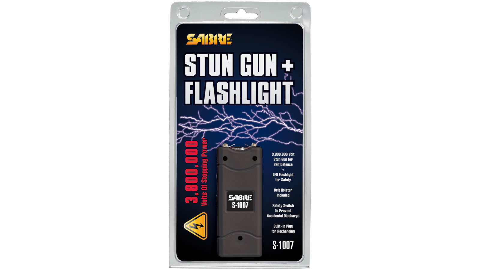 Sabre S1007BK 3.8 Million Volt Stun Gun|Flashlight Portable 2.35 lbs   Black