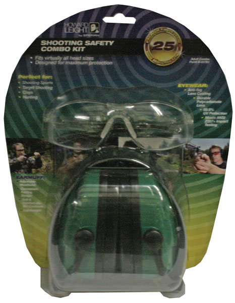 Howard Leight R01761 Woman''s Shooting Safety Combo Earmuff|Shooting Glasses 25 dB Green Earmuffs|Clear Frame and Len