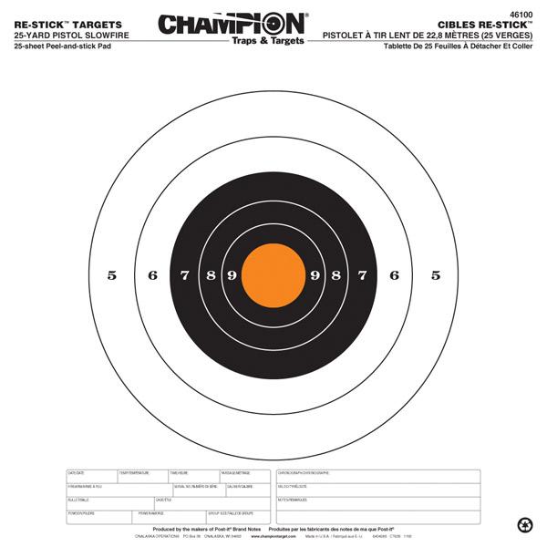 Champion Targets RE-STICK 25YD Pistol SLWFR