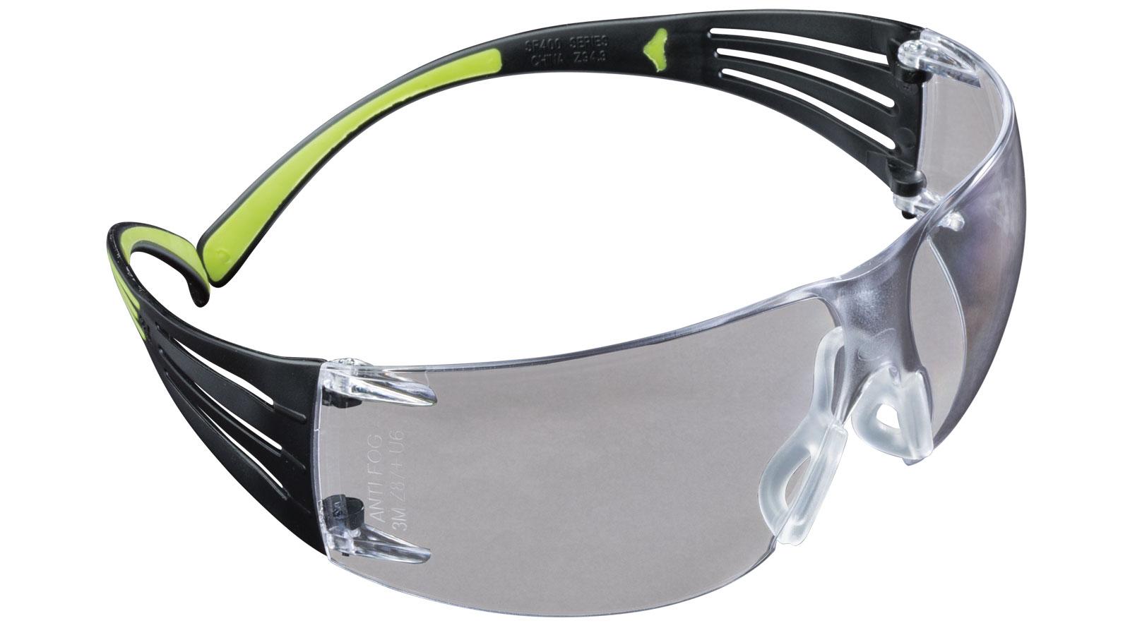 3M Peltor SF400PC8  Sport SecureFit 400 Shooting|Sporting Glasses Black|Green Frame Clear Polycarbonate Lens 1 Pair