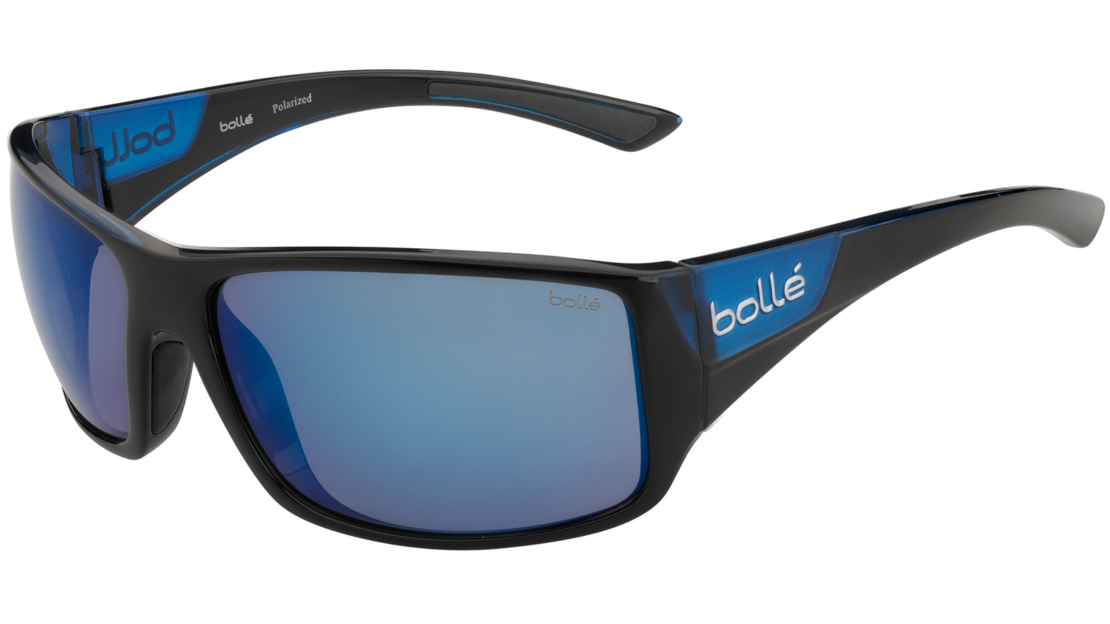 Bolle 11928 Tigersnake Sporting Glasses Shiny Black|Matte Blue Frame Blue Mirror Lens