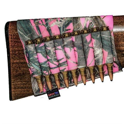 Grovtec US Inc GTAC74 Buttstock Ammo Holder Rifle 9 Loops Elastic|Nylon TrueTimber Conceal Dark Pink