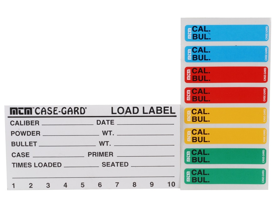 MTM LL1  Reloading Labels 50Pk & 48 Sm Color Coded Labels 4x2-1|8 in.  in.