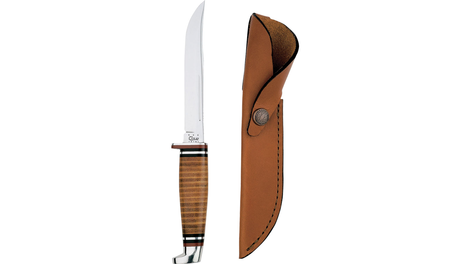 Case 381 Leather Hunter Fixed 5 Steel Skinner Leather in.