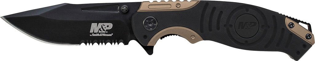SW Knives SWMP13BS M&P Folding 3.5 8Cr13MoV Stainless Steel Black Clip Point in.