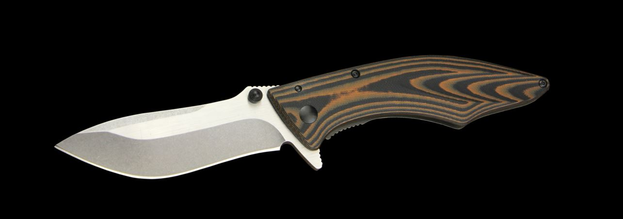 Outdoor Edge Jerry Hossom 3.5 Conquer Folders with Two-Color G-10 Titanium Coated 420 J2 Stainless Steel handle and 8Cr13MoV Stainless Steel 3.625 in.  Clip Point Plain Edge Blade Model CQ-35