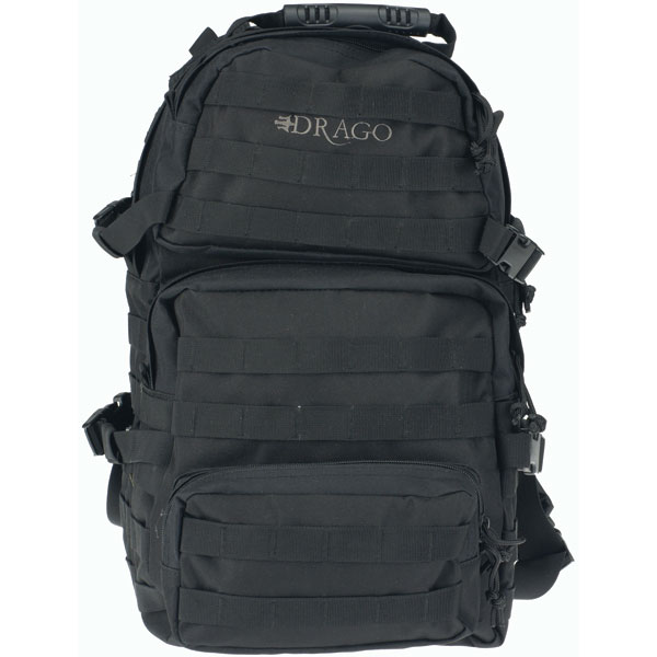 Drago Gear 14302BL Assault Backpack 600D Polyester 20 x 15 in.  x 13 in.  Black in.