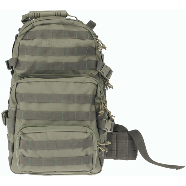 Drago Gear 14302GR Assault Backpack 600D Polyester 20 x 15 in.  x 13 in.  Green in.