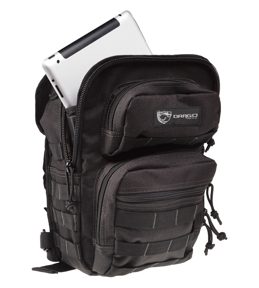 Drago Gear 14306BL Sentry Pack For iPad Backpack 600D Polyester 13x10 in. x7 in.  Black in.