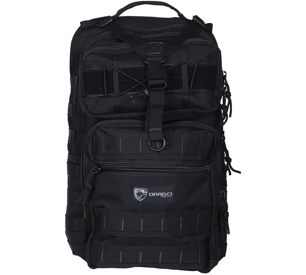 Drago Gear 14308BL Atlus Sling Backpack Tactical 600D Polyester 19 x 11 in.  x 10 in.  Black in.