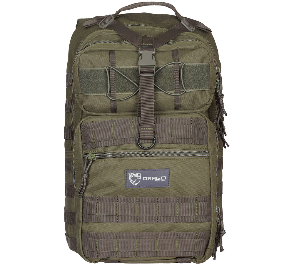 Drago Gear 14308GR Atlus Sling Backpack Tactical 600D Polyester 19 x 11 in.  x 10 in.  Green in.