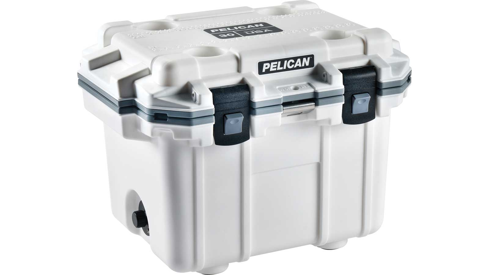 Pelican Elite Cooler, White|Gray, 25.30 in.  x 19.00 in.  x 18.50 in.  30Q-1-WHTGRY