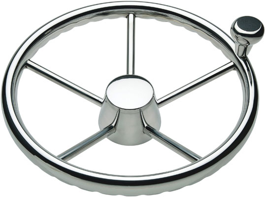 Schmitt 170 13.5 in.  Stainless 5-Spoke Destroyer Wheel w| Stainless Cap and FingerGrip Rim - Fits 3|4 in.  Tapered Shaft Helm