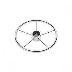 Schmitt 170 13.5 in.  Stainless 5-Spoke Destroyer Wheel w| Black Cap and Standard Rim - Fits 3|4 in.  Tapered Shaft Helm