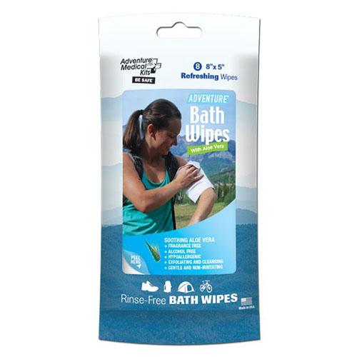 Adventure Medical Kits 0170-0304 Adventure Bath Wipes, Travel Size, Per 8