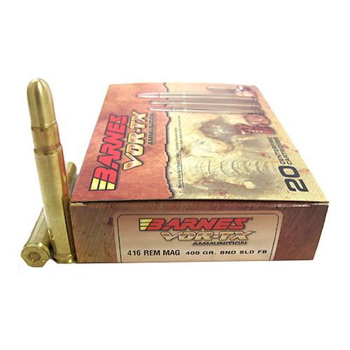 Barnes 22018 VOR-TX 416 Rem Mag Round Nose Banded Solid 400 GR 20Box|10Case