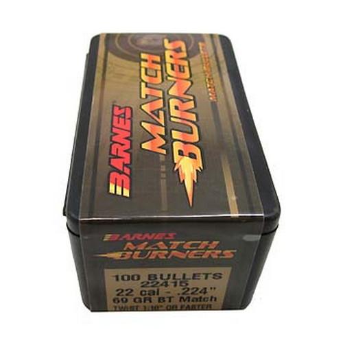 Barnes Bullets 30162 Rifle 22 Caliber .224 69 GR Match Burners Boat Tail 100 Box
