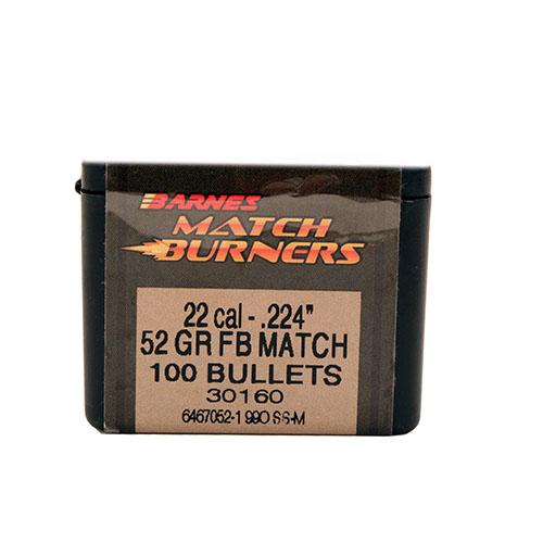 Barnes Bullets 30160 Rifle 22 Caliber .224 52 GR Match Burners Flat Base 100 Box