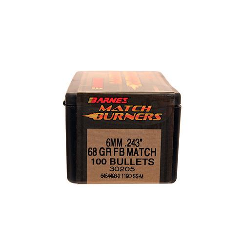 Barnes Bullets 30205 Rifle 6mm .243 68 GR Match Burners Flat Base 100 Box