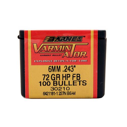 Barnes Bullets 30210 Rifle 6mm .243 72 GR Flat Base Hollow Point 100 Box