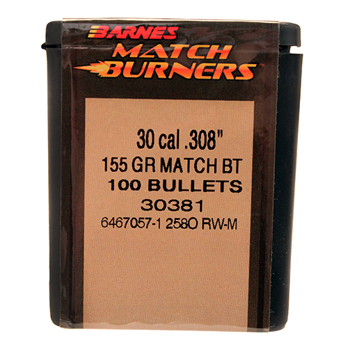 Barnes 30381 Palma Rifle 30 Cal .308 155 GR Match Burners BT 100 Box