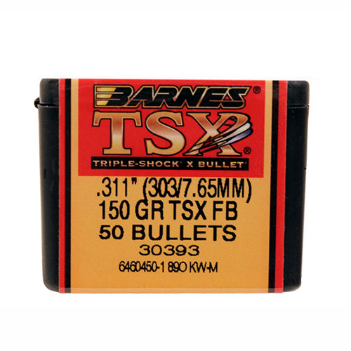 Barnes Bullets 30393 Rifle 303 Caliber .311 150 GR TSX FB 50 Box