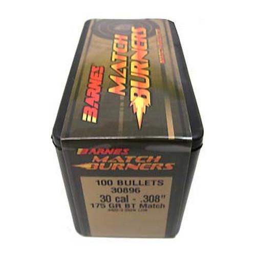 Barnes Bullets 30385 Rifle 30 Caliber .308 175GR Match Burners Boat Tail 100 Box