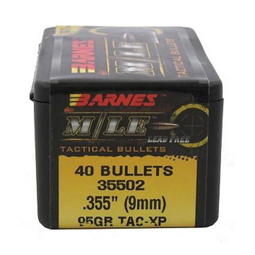 Barnes Bullets 30444 Tactical 9mm .355 95 GR TAC-XP FB 40 Box