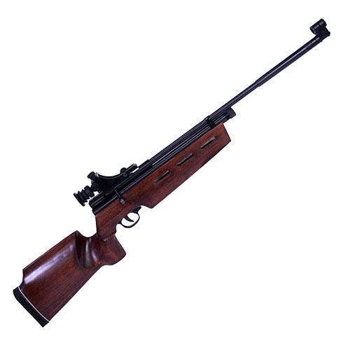 Beeman SAG CO2 Bolt Action Air Gun Rifle Brown .177 air 21.5 inch 1 rd with Peep Sights