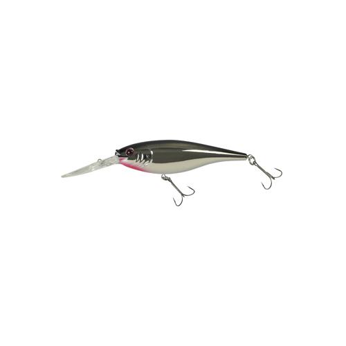Berkley 1316760 Flicker Shad Hard Bait 2 3 4 in.  Length, 11'-13' Swimming Depth, 2 Hooks, Black Silver Flash, Per 1