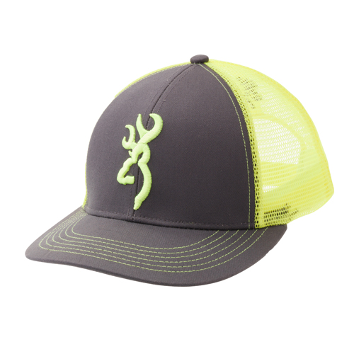 Browning 308177541 Cap Flashback, Charcoal|Neon Green