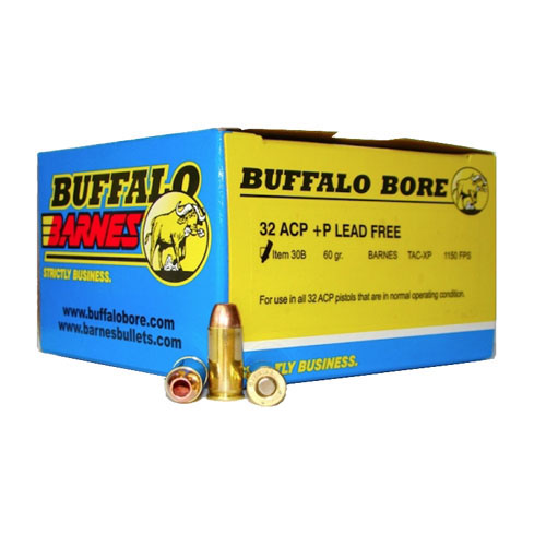 Buffalo Bore Ammunition 30B|20 32 ACP +P Barnes TAC-XP 60GR 20 Box|12 Case