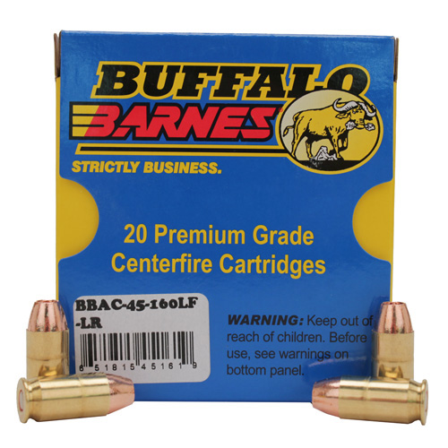 Buffalo Barnes 45-160LF-LR Low Recoil 45 ACP 160 Grains, TAC-XP, (Per 20)