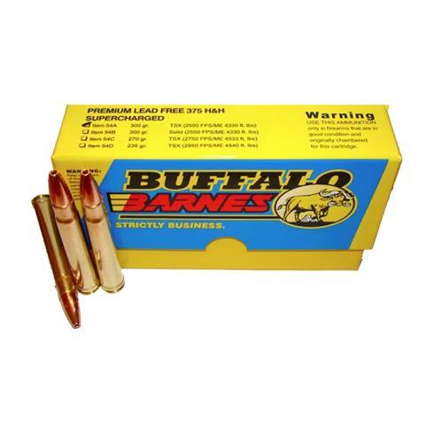Buffalo Bore Ammo 54A 20 Rifle 375 H&H Mag Barnes TSX Boat Tail 300GR 20Bx 12Cs
