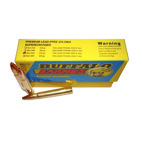 Buffalo Bore Ammo 54C 20 Rifle 375 H&H Mag Barnes TSX 270 GR 20Box 12Case