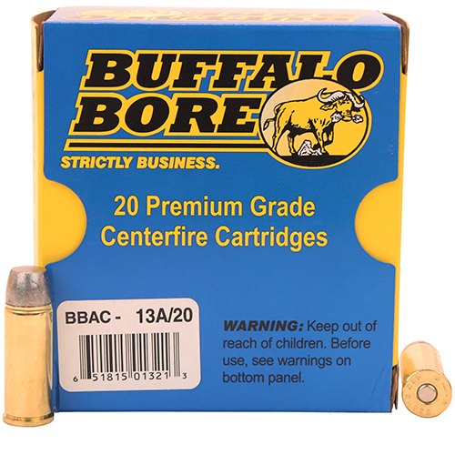 Buffalo Bore Ammunition 13A|20 480 Ruger 370 GR Lead Flat Nose 20 Bx| 12 Cs