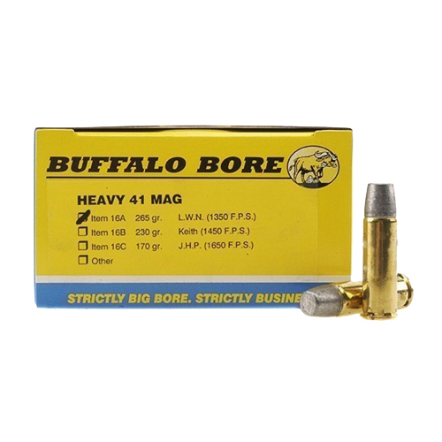 Buffalo Bore Ammunition 16A|20 Outdoorsman 41 Remington Mag 265 GR Hard Cast Lead 20 Bx| 12 Cs