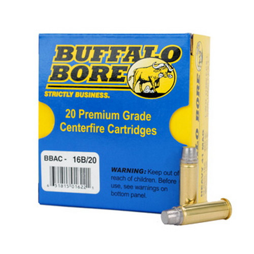 Buffalo Bore Ammunition 16B|20 Outdoorsman 41 Remington Mag 230 GR Hard Cast Keith Semi-Wadcutter 20 Bx| 12 Cs