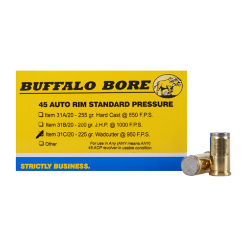 Buffalo Bore Ammo 31C|20 Handgun 45 Auto Rimmed Wad Cutter 225 GR 20Box|12Case