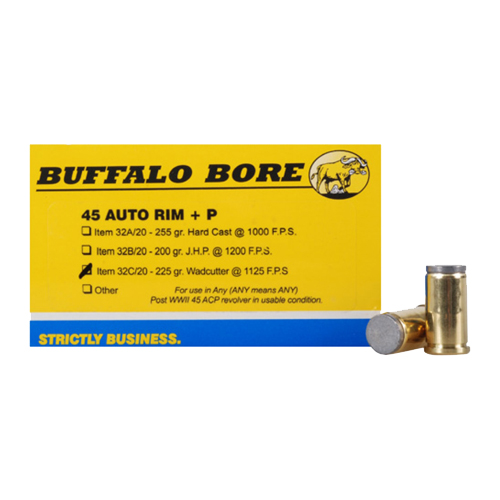 Buffalo Bore Ammunition 32C|20 45 Auto Rim +P 225GR Wadcutter 20Box|12Case
