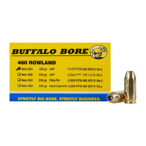 Buffalo Bore Ammunition 35A|20 460 Rowland 185 GR Jacketed Hollow Point 20 Bx| 12 Cs