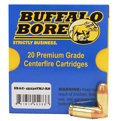 Buffalo Bore Ammunition 45-230FMJ-RN 45 ACP Low Flash 230 Grains, Full Metal Jacket FMJ, Round Nose RN, (Per 20)
