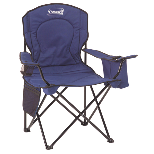 Coleman Chair Adult Quad w|Cooler, Blue