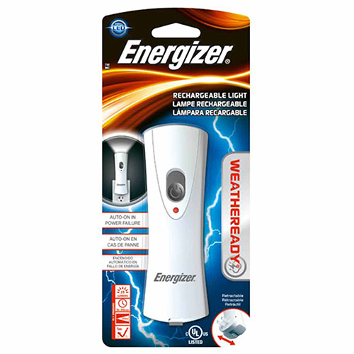 Energizer RCL1NM2WR Energizer Weatheready Rechargeable LED Light White, 8 Lumens, NiMH, White|Gray
