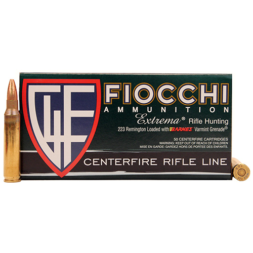 Fiocchi 223VGNT Extrema 223 Remington|5.56 NATO 50 GR Hollow Point Flat Base 50 Bx| 10 Cs