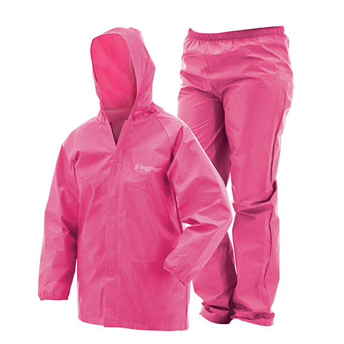 Frogg Toggs Youth Ultra-Lite Rain Suit Pink, Large
